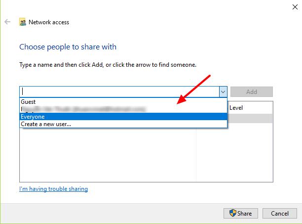 share thư mục trên Windows 10